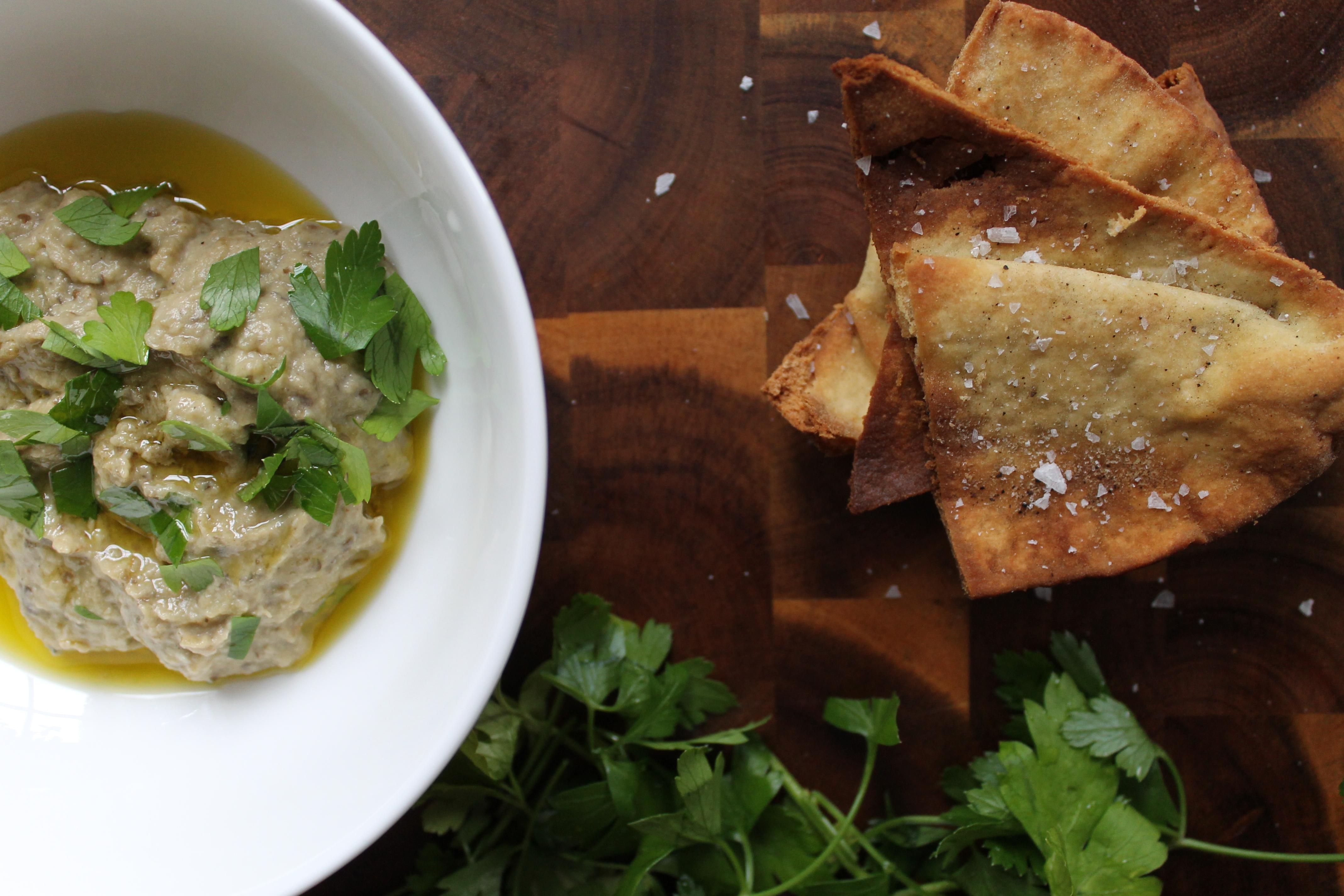 goat cheese eggplant dip + sea salt pita chips – Friendly ...